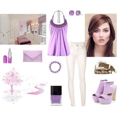 Lilac set by besyata on Polyvore featuring мода, rag & bone/JEAN, Atmos&Here, Lagos, Tiffany & Co., Lime Crime and Butter London