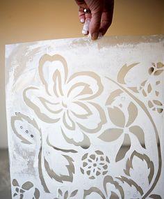 DIY Stenciled Floor Tutorial - So beautiful! Stencil Diy, Stencil Designs, Custom Stencils, Floor Cloth, Floor Rugs, Painted Floors, Painted Furniture, Stenciled Floor, Floor Stencil