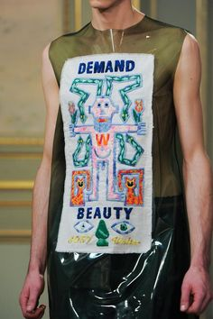 "monsieurcouture: ""Walter Van Beirendonck F/W 2015 Menswear Paris Fashion Week "" Paper Clothes, Walter Van Beirendonck, Protest Art, Fashion Details, Fashion Design, Whimsical Fashion, Embroidered Clothes, Embroidery Techniques, Festival Outfits"