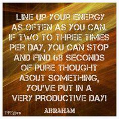 ...68 seconds of pure thought..... Abraham-Hicks Inte mycket som behövs egentligen