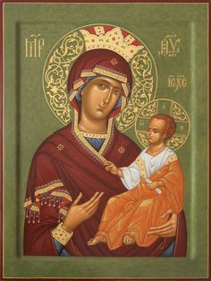 Icon of the Blessed Virgin(board, levkas, gold, ,natural pigment) Byzantine Icons, Byzantine Art, Religious Icons, Religious Art, Religion, Queen Of Heaven, Blessed Mother Mary, Orthodox Christianity, Madonna And Child