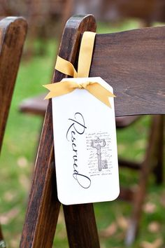 Reserved signs for the family members, love the colour of that ribbon Wedding Types, Wedding Signs, Diy Wedding, Rustic Wedding, Dream Wedding, Wedding Ideas, Wedding Ceremony, Wedding Decor, Wedding Stuff