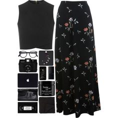 A fashion look from September 2015 featuring wrap top, maxi skirts and leather hand bags. Browse and shop related looks. Mode Outfits, Stylish Outfits, Fashion Outfits, Womens Fashion, Mode Rock, Looks Chic, Modest Fashion, Look Fashion, Aesthetic Clothes