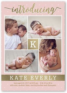 Birth Announcement: Precious Introduction Girl, Square Corners, Pink
