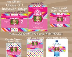 Colorful Rainbow Dots birthday party - complete party package - photo invitation - matching party printables - diy - PRINTABLE. $45.00, via Etsy.