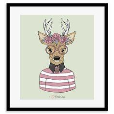 Whimsical Animals - Daisy, Portrait, Framed Print, 30x40cm