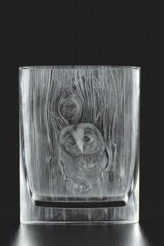 Hand cut and engraved Moser vase, owl motif