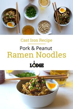 Next time you want to make a ramen recipe at home, grab the noodles, toss aside the pre-made seasoning, and make this cast iron recipe. The ground pork, egg, and homemade sauce elevate this ramen (for under $25) to not only fill you up, but satisfy the desire for comfort food.    #homemaderamen #ramen #castironcooking