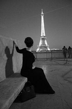 eiffel tower paris france black and white photography audrey hepburn style