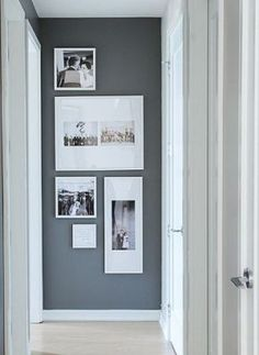 photos for end of hallway, grouping of photos, gallery wall, collage of family photos, template, matting of photos, designer tips for photos,: