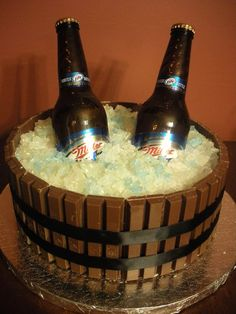 beer in an ice barrel made with kit kats and rock candy (could just use white icing as ice)