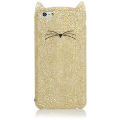 kate spade new york Glitter Cat iPhone 6 Plus Case ($53) ❤ liked on Polyvore featuring accessories, tech accessories, phone cases, cases, phones, iphone and kate spade