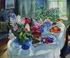 Easter Table Canvas Artwork by Alexander Vladimirovich Makovsky Fine Art Prints, Framed Prints, Canvas Prints, Easter Paintings, Christ, Thing 1, Easter Table, Custom Posters, Art Reproductions