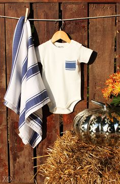 Fall Style: Blue Striped Baby Blanket and Matching One-Piece With Pocket.