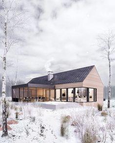 Winter retreat on Behance Modern House Exterior Behance retreat Winter Scandinavian Architecture, Scandinavian Home, Modern Architecture, Cabins In The Woods, House In The Woods, Modern Barn, Modern Farmhouse, Modern Cabins, Dream House Plans