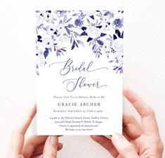 Navy Blue Floral Bridal Shower Invitation Blue Flowers Invites | Etsy