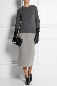 Rochas Pilled wool-blend midi skirt NET-A-PORTER.COM