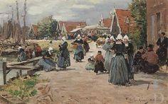 Fernand Marie Eugène Le Gout-Gérard Marktdag in Volendam, 1890 Christie's (Londen (Engeland)), 19 #NoordHolland #Volendam