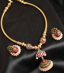 Buy GORGEOUS UNIQUE DESIGN JHUMKKA PENDANT TEMPLE JEWLE SET necklace-set online