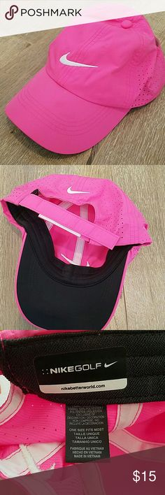 Nike hat...worn once. Pink light weight Nike hat. Only worn once.  Comes from pet free, super clean, and smoke free home. Nike Accessories Hats