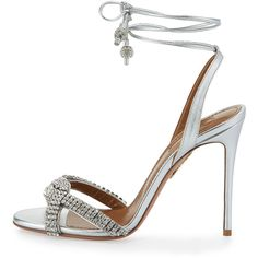 Aquazzura Dazzling Crystal Ankle-Wrap 105mm Sandal (145510 RSD) ❤ liked on Polyvore featuring shoes, sandals, ankle strap sandals, strap sandals, open toe sandals, strappy sandals and ankle strap shoes