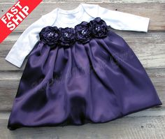 Eggplant Satin Baby Dress, Infant Holiday Bubble Dress Couture Baby wedding / party Dress available in 33 colors Bella Baby Blu Dress 6279.