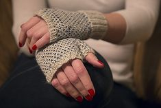 Soft and simple fingerless mitts worked in stockinette stitch in the round.