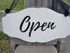 Ready Ship Open Closed Scallop Wood Vinyl Sign by heartfeltgiver