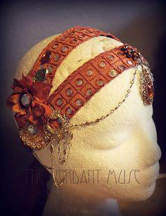 Orange Bollywood Headdress Tribal Fusion by theverdantmuse on Etsy