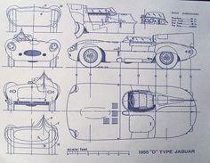 1955 Jaguar D-Type Automobile Blueprint