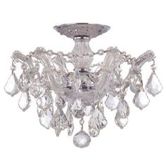 Crystorama 4430-CH-CL-MWP Maria Theresa Crystal Semi-Flush Ceiling Fixture