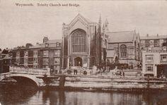 Trinity Church and Bridge Weymouth Unused Local Issue Dorset RP Postcard Weymouth Harbour, Weymouth Dorset, Old Photos, Worlds Largest, Taj Mahal, Past, History, Genealogy, Portland