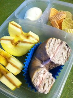 Kids school lunch ideas. I like the apple idea with the peanut butter.