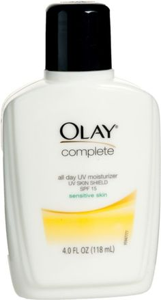 Complete All Day UV Moisturizer SPF 15 Sensitive Skin by Olay treats sensitive skin to UV protection, lasting hydration and a gentle formula that's 100% oil-, fragrance- and PABA-free..