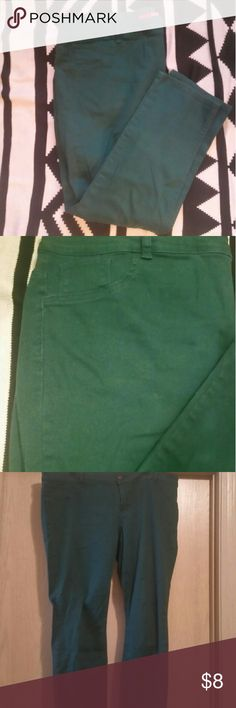 Emerald Green Skinny Jeans Lightly worn (once or twice) emerald green skinny jeans. Size 22. First photo is the most true to color. Faux pockets in front. Usable pockets in back. Pure Energy Jeans Skinny