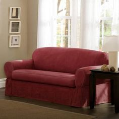 Leather Sofas  Maytex Piped Faux Suede Non Stretch Piece Sofa Slipcover Walmart