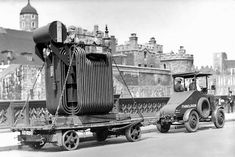 Bruce Peebles transformer on its journey past the Tower of London, mid 1920s