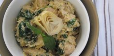 """Greek chicken """"pasta"""" with spinach and artichokes"""
