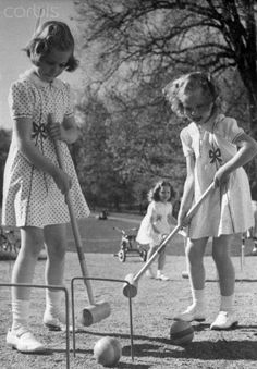 Princesses Margrethe Playing Croquet