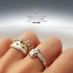 Albus adamas gothic skull gold ring skull engagement by TYVODAR, $666.00