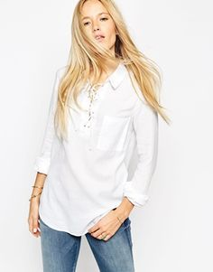 ASOS Soft Shirt with Lace Up Detail