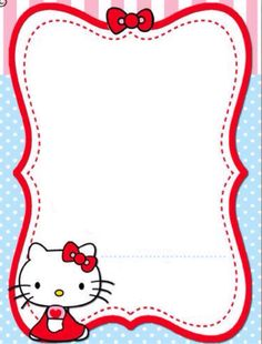 Hello Kitty Invitations, Page Borders Design, Kids Background, Hello Kitty Pictures, Cute Stationary, Christmas Frames, Hello Kitty Wallpaper, Borders And Frames, Blog Planner