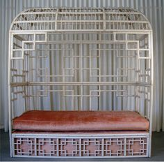 Extraordinary vintage rattan daybed, love the bohemian look. I can see Al Green or Curtis Mayfield in this...