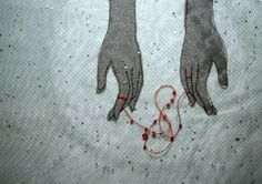 """The red string of fate, is an East Asian belief originating from Chinese legend and is also used in Japanese legend. According to this myth, the gods tie an invisible red string around the fingers of those that are destined to meet each other in a certain situation or help each other in a certain way. According to Chinese legend, the deity in charge of """"the red thread"""" is believed to be Yuè Xià Lǎo , the old lunar matchmaker god who is also in charge of marriages."""