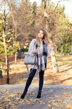 A PIECE OF ANNA - blog modowy, blog o modzie, blogerka z lublina: GRAY FUR OUTFIT | jesienna stylizacja w odcieniach szarości