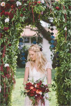 Greenery wedding ceremony decor idea - greenery and red flower arch {Vanessa Noel Events} Wedding Beauty, Boho Wedding, Floral Wedding, Fall Wedding, Wedding Colors, Boho Bride, Rustic Wedding, Wedding Ceremony Decorations, Wedding Venues