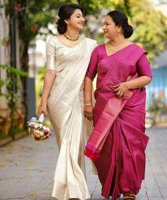 Kerala Engagement Dress, Engagement Dress For Bride, Engagement Saree, Christian Wedding Dress, Christian Bridal Saree, Christian Bride, Kerala Wedding Saree, Kerala Bride, Saree Wedding