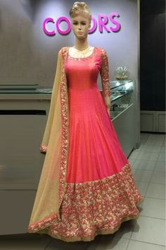 Eye catching Pink Colour on Paper Silk fabric that grabs attention is an optimal Party Wear with a Anarkali Suit that makes the saree look flawless and alluring. Silk Anarkali Suits, Anarkali Dress, Lehenga Choli, Choli Dress, Bridal Anarkali Suits, Silk Dupatta, Salwar Suits, Indian Attire, Indian Outfits