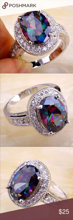 (Size 8) Rainbow & White CZ Silver Plated Ring Brand new. Rainbow & White CZ Silver Plated ring stamp 925 will not tarnish. Still have size 7/8/9/10/11 free ring box.  Please let me know what size you want after your purchase. Jewelry Rings