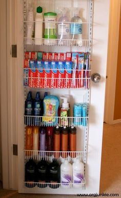 Doesn't have to be bath stuff. Any sort of closet type storage ideas for small amenities to save space
